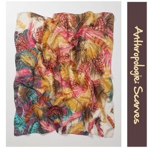 Anthro Feather Print Square Scarf by Echo
